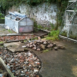 Preparing a concrete base for the greenhouse